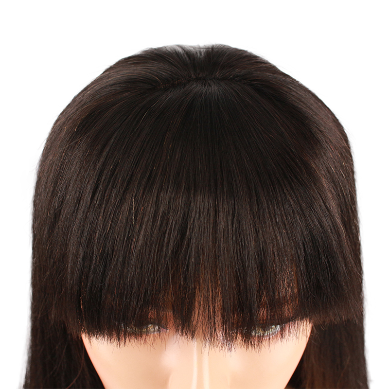 Eseewigs Light Yaki 13x4 Lace Front Human Hair Wigs With Bangs Brazilian Remy Human Hair Glueless Wig for All Women Baby Hair