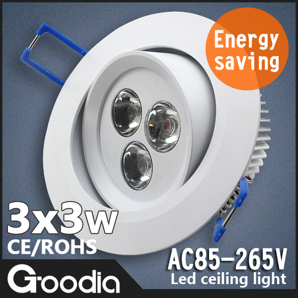 [GOODIA]-9w AC85-265V Round LED Ceiling Downlight,LED Bulbs Lamp,Cool White/Warm White,Downlight Fixture for Home Lighting