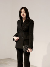 Women Clothing Slim Korean Double-breasted Micro-la Pants Women Suit Female Casual Fashion Suit Dress Ol Two-piece Set(China)