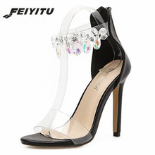 feiyitu Fashion Black Women Sandals High Heels PVC Clear Crystal Concise Classic Zip Quality Shoes Yellow Beige