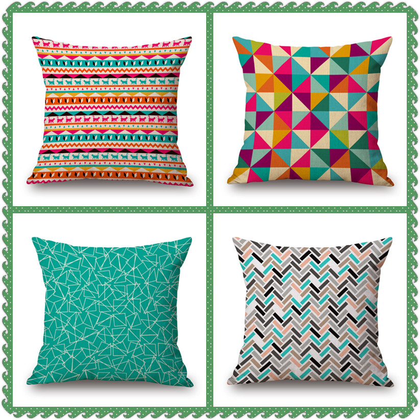4 Types Scandinavian Style Cushion Cover Geometric Plaid Pattern Cotton Linen Cushion Case For Home Sofa Car Warmful Decor PC079