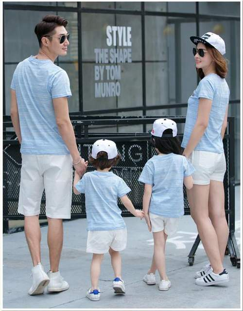 c34cefaa727 placeholder Family Look 2019 Summer New Family Matching Clothing Outfits  mother son daughter father sets Blue T