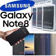 Original Samsung Galaxy NOTE 8 N950F Intelligente LED Ansicht Abdeckung Flip Brieftasche Fall schlaf funktion Automatische wake bildschirm auf funktion