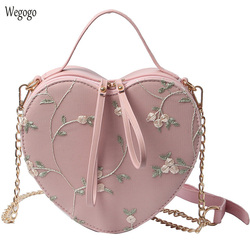 Vintage Summer Women Handbags Travel Messenger Bag Heart Shape Floral Embroidered Bags PU Leather Shoulder Bag Crossbody Totes