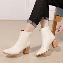 Купить с кэшбэком 2018 VALLU Winter Boot Shoes Women Ankle Warm Boots Genuine Leather Square Toes Zipper High Heel Ladies Boots White/Brown/Black
