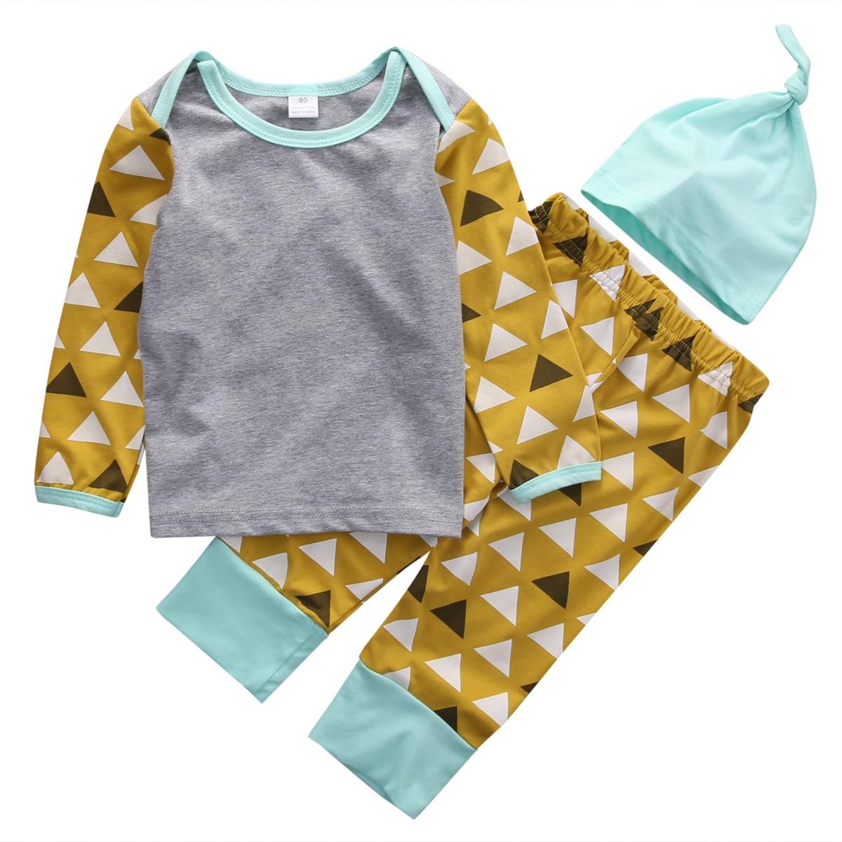 2016 Autumn Newborn Baby Boy Girl Clothes Suit 3pcs Long Sleeve T-shirt Top Pant Hat Outfits Casual Bebek Giyim Clothing Set