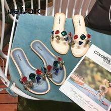 дешево!  Прозрачные туфли Комнатные туфли Дамские горки Прозрачные мулы Тапочки Кристаллы Горки Дизайн Дома�