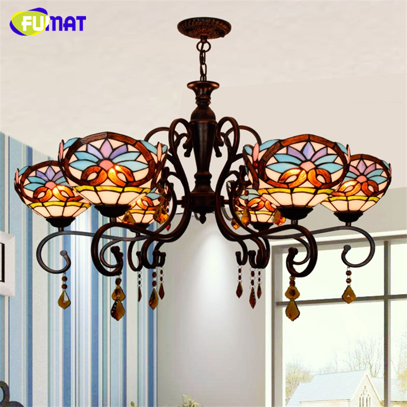 FUMAT European Tiffany Creative Vintage Living Room Chandeliers Baroque Stained Glass Lights LED Art Crystal Colour Chandeliers fumat stained glass pendant lamps european style baroque lights for living room bedroom creative art shade led pendant lamp