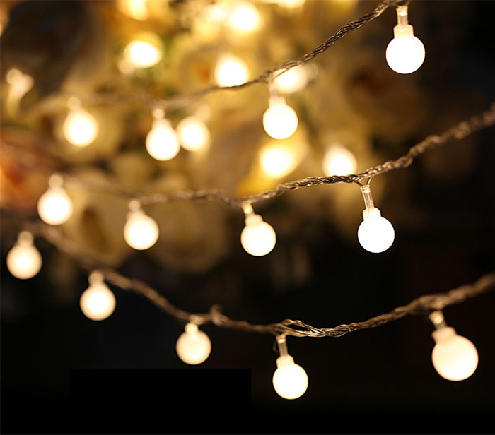Luminaria 50 Led Cherry Balls Fairy String Decorative Lights Battery Operated Wedding Christmas Outdoor Patio Garland