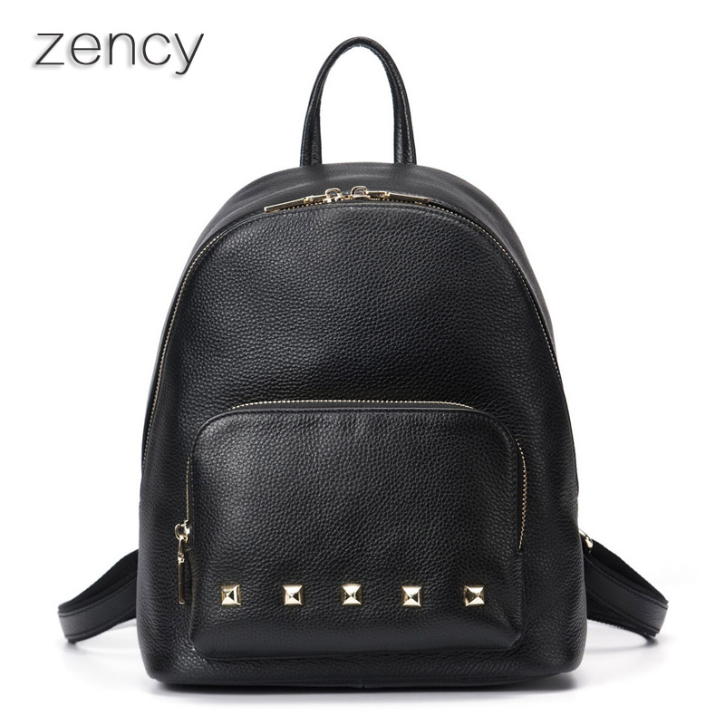 ZENCY Famous Brand Soft Natural Genuine Leather Women Backpack Cowhide Women s Real Leather Backpacks School
