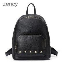 Zency известный бренд мягкого натурального натуральная кожа женщины рюкзак из воловьей кожи женские из натуральной кожи рюкзаки школьные сумки Ipad leathe