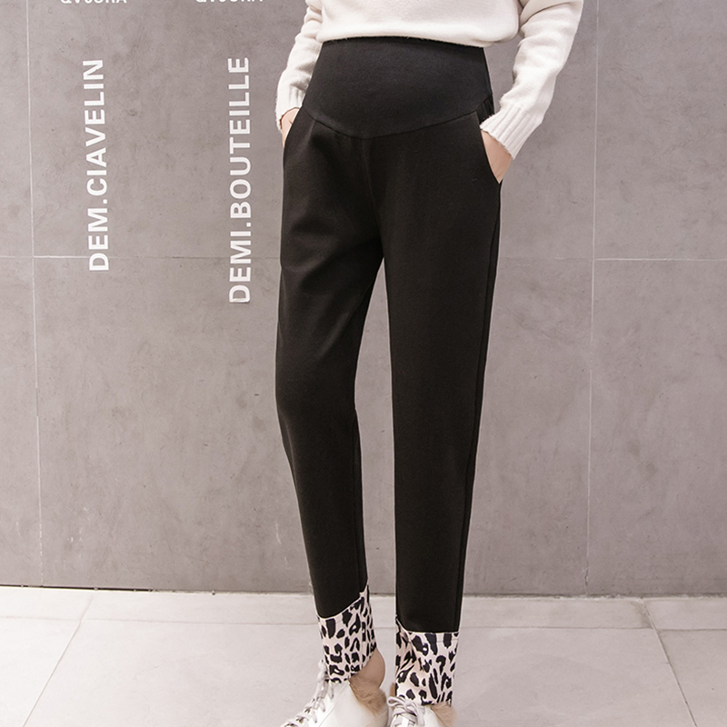 Pregnancy Pants High Waist Thick Maternity Pants Autumn Winter Plus Size Pantalones Casual Loose Pockets Maternity Trousers