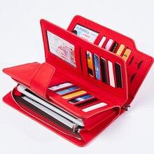 Женский кошелек из искусственной кожи, клатч, красный, 3 сложения, женские кошельки на молнии, кошелек на ремешке, сумка для денег, кошелек для монет, Женский кошелек для iPhone