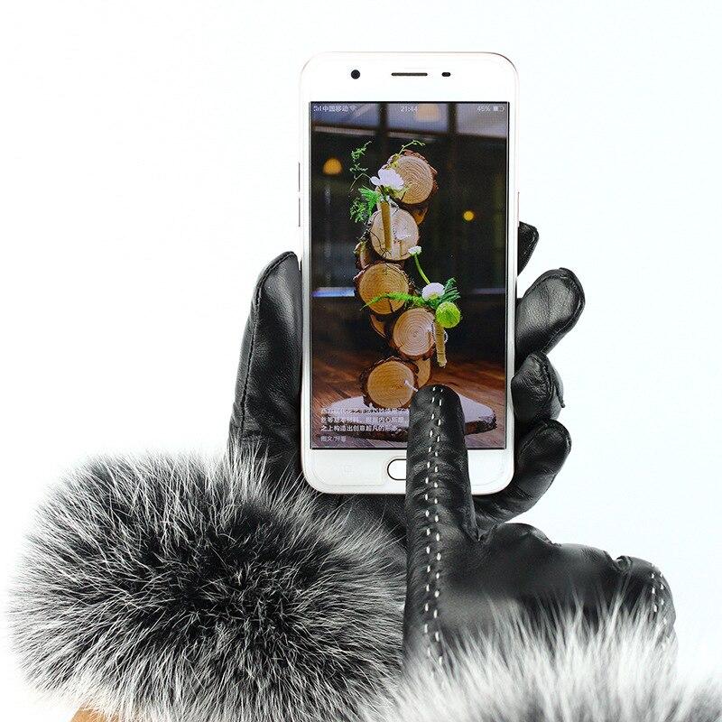 JKP 2018 nouveaux gants en cuir pour femmes femelle fourrure de renard bouche plus velours peau de mouton chaud écran tactile gants discount hiver chaud