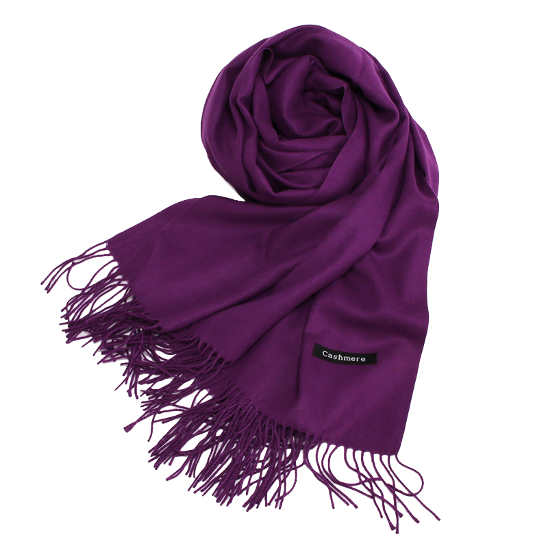 Women Purple Color Cashmere Shaw Cashmere Scarf With Tassel Lady Winter Warm Scarf High Quality Female Party Outdoors Big Shawl