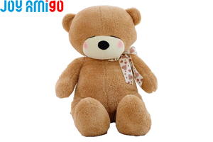 Shy Teddy Bear With Bow Brown Fur Plush Stuffed Animal Toy Super Soft 40cm/60cm Tall Gift For Kids Freeshipping