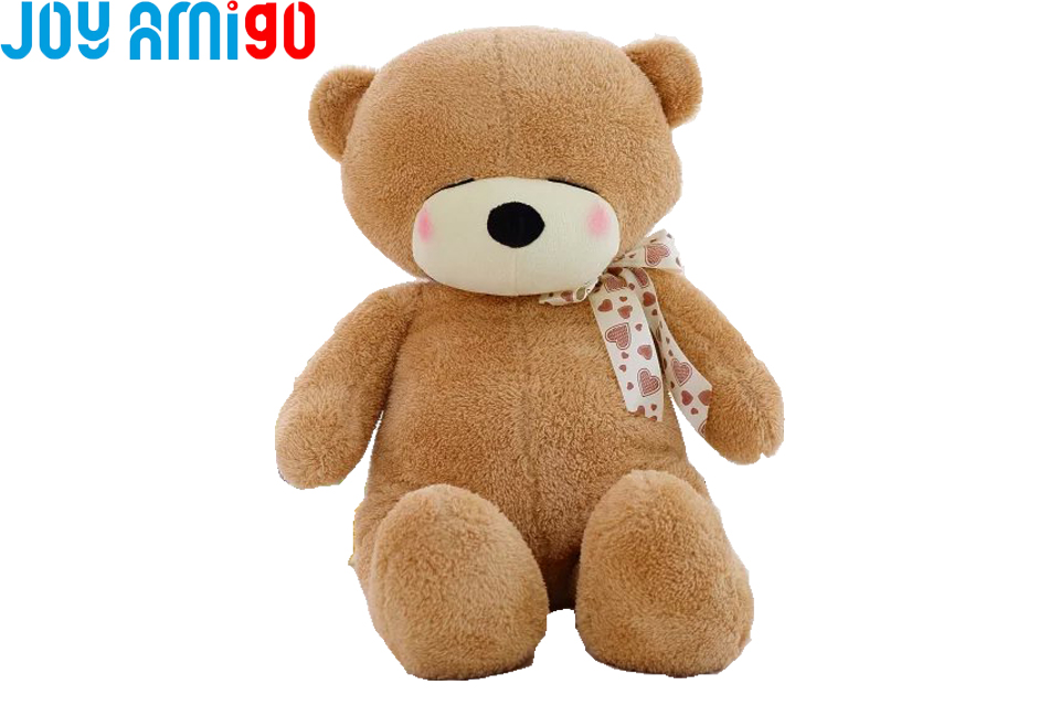 Shy Teddy Bear With Bow Brown Fur Plysch Fylld Animal Toy Super Mjuk 40cm / 60cm Hög Gift For Kids Freeshipping