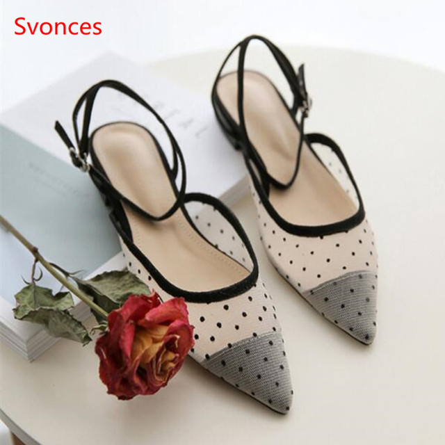 40377f25bb50 Mesh Black Spot Pointed Toe Women Flats Low Heel Shallow Female Mules Women  Breathable Buckle Strap Mary Janes Shoes Black White