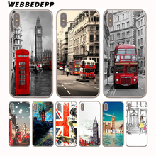 WEBBEDEPP London style Big Ben Telephone Box flag Hard Transparent Cover Case for iPhone 8 Plus 7 Plus 6 6s Plus X/10 5S SE 4S