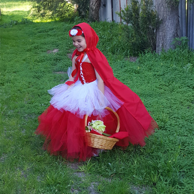 Little Red Riding Hood Halloween Christmas Costumes Girls Cosplay Tutu Dress Children's Kids Princess Party Performance Dresses ariel inspired girls tutu dress tulle princess little mermai cosplay tutu dresses for girls kids halloween party costumes 2 12y