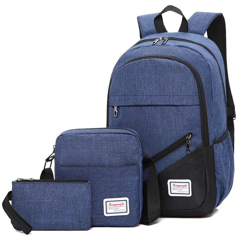 3Pcs/set School Bags For Women Nylon Laptop Backpack Travel Business Men Shoulder Bag Fashion School Backpacks Sac A Dos Mochila