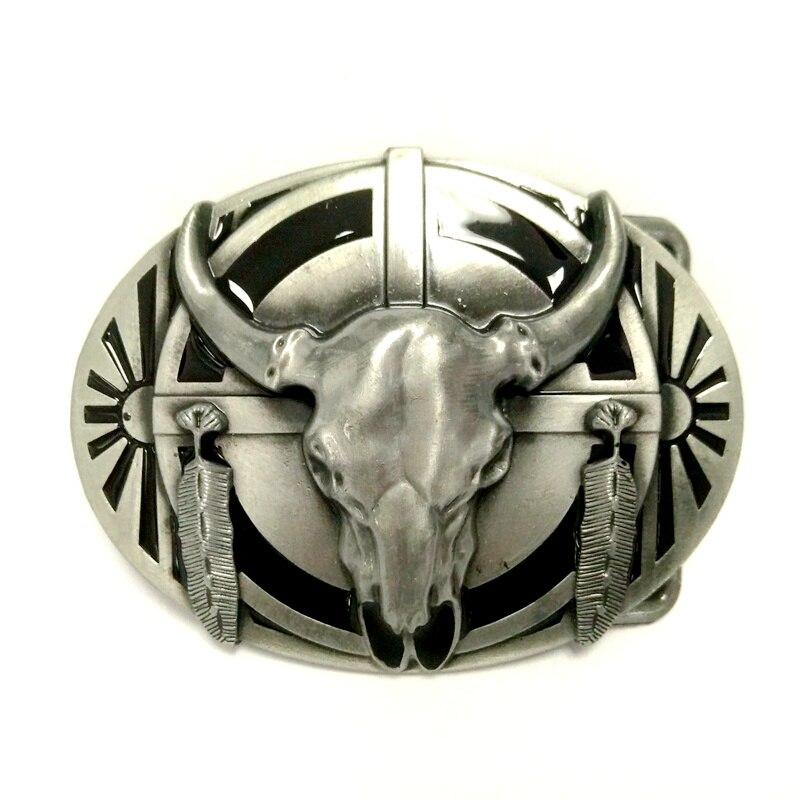 43f1934c9486 Ceintures de mode pour hommes avec la tête De Vache Totem Indien Américain  Western Cowboy Boucle de ceinture en métal Noir PU ceinture en cuir hommes  dans ...
