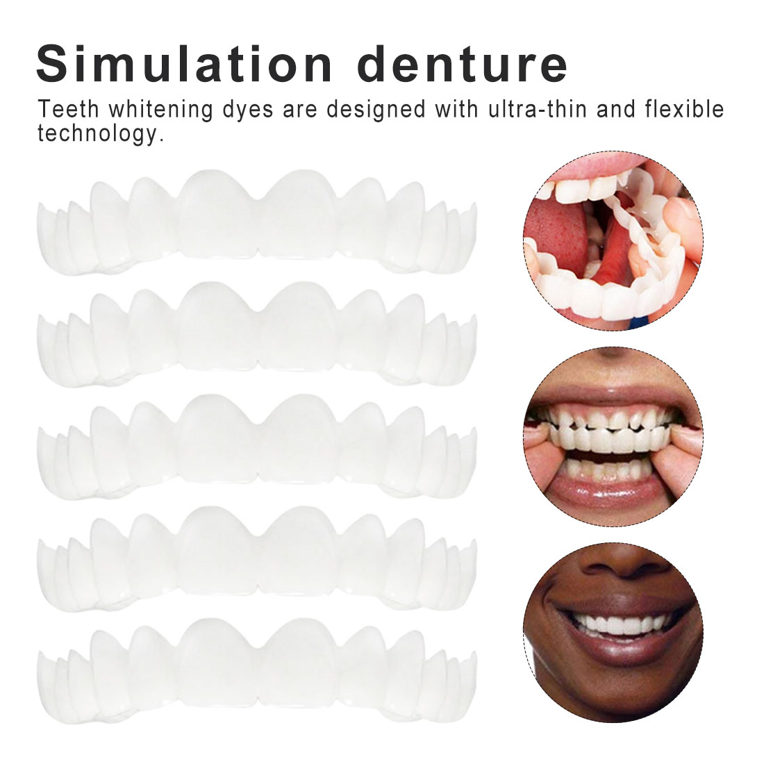 5pcs Smile Denture Fit Flex Cosmetic Teeth Comfortable Veneer Cover Teeth Whitening Snap On Smile Teeth Cosmetic Denture