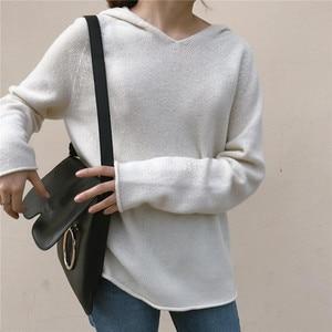 Image 3 - カシミヤニットジャンパー女性セーターフード付き 2 色韓国風ホット販売ファッションプルオーバー女性ウールニット服トップス
