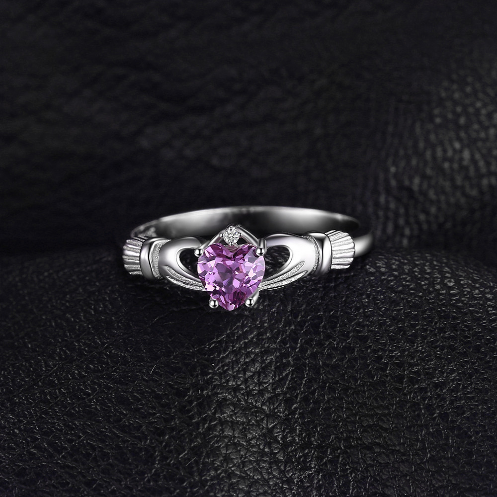 JewelryPalace Celtic Claddagh Natural Amethyst Ring 925 Sterling Silver Rings for Women Promise Ring Silver 925 Fine Jewelry in Wedding Bands from Jewelry Accessories