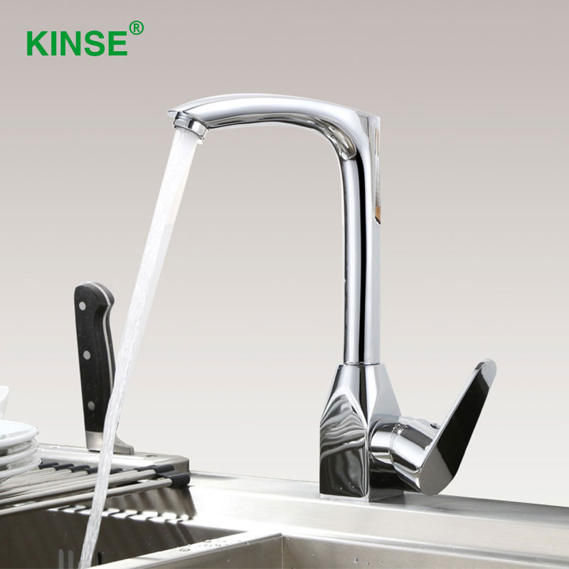KINSE Brass Material Chrome Sink Faucet Durable Spout Swivel Kitchen Faucet with Hot Cold Water Mixer