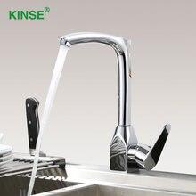 KINSE Материал Латунь Chrome Раковина Кран Прочный Носик Поворотный Кухня Кран с Горячей Холодной Воды Смесителя
