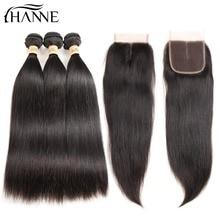 HANNE Волосы Перуанские связки для волос с прямыми прямыми связями для человеческих волос с закрытием Швейцарские шнурки для волос 3 Bundles