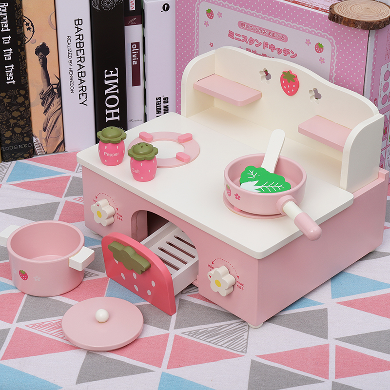 c21122b0a4d4 Play House toys Kitchen Toys Children Play Toys Pink wooden set Cooking  rice Simulation Table Model Utensils Toy girls gifts