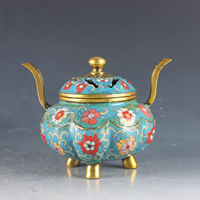 Chinese Cloisonne Handwork Carving Flowers Beautiful Buddhism Incense Burner Censer Bronze Statue