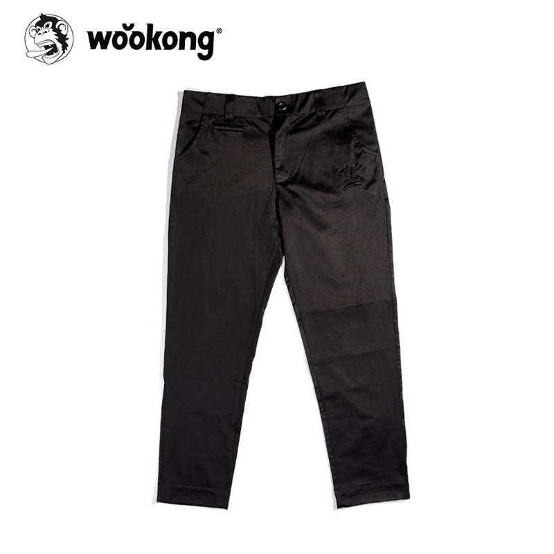 The Wookong 2017 New men ankle length pants black Chinese embroidery man pants K-G006 free shipping