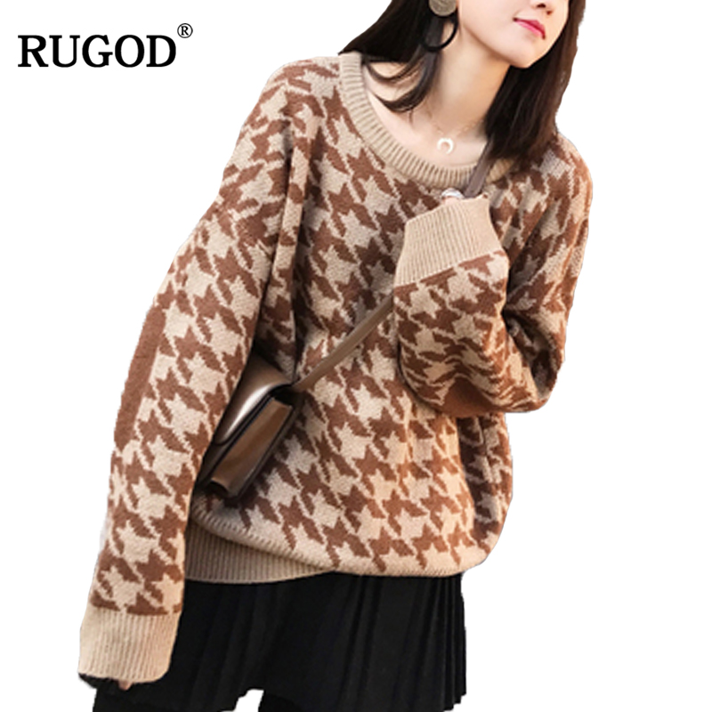 RUGOD Fashion Female Casual Suit Sets O-Neck Plaid Oversized Sweater Pullovers Sets Zipper Fly Above Knee Mini Skirt For Women thumbnail