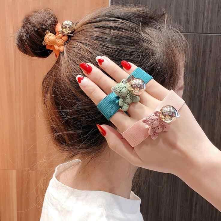 Koreański wschodniej bramy Cub niedźwiedzia głowy liny wstrząsnąć dźwięk netto czerwony słodki miś włosów liny koreański Edition pigułki głowy skrzyp biżuteria do włosów