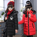 Girls Winter Coats Cotton-Padded Fur Hooded Jackets For Girls Outerwear Windproof Children Parkas 4 6 8 10 12 Years Kids Clothes