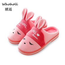 Whoholl 2019 New Style Lovely Rabbit Ears Soft Home Slippers Cotton Warm Winter Women Slippers Casual Indoor Slippers Size 36-44 цены