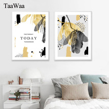 TaaWaa Golden Leaf Plant Poster And Prints Pictures Abstract Modern Canvas Wall Art Minimalist Painting For Living Room Decor
