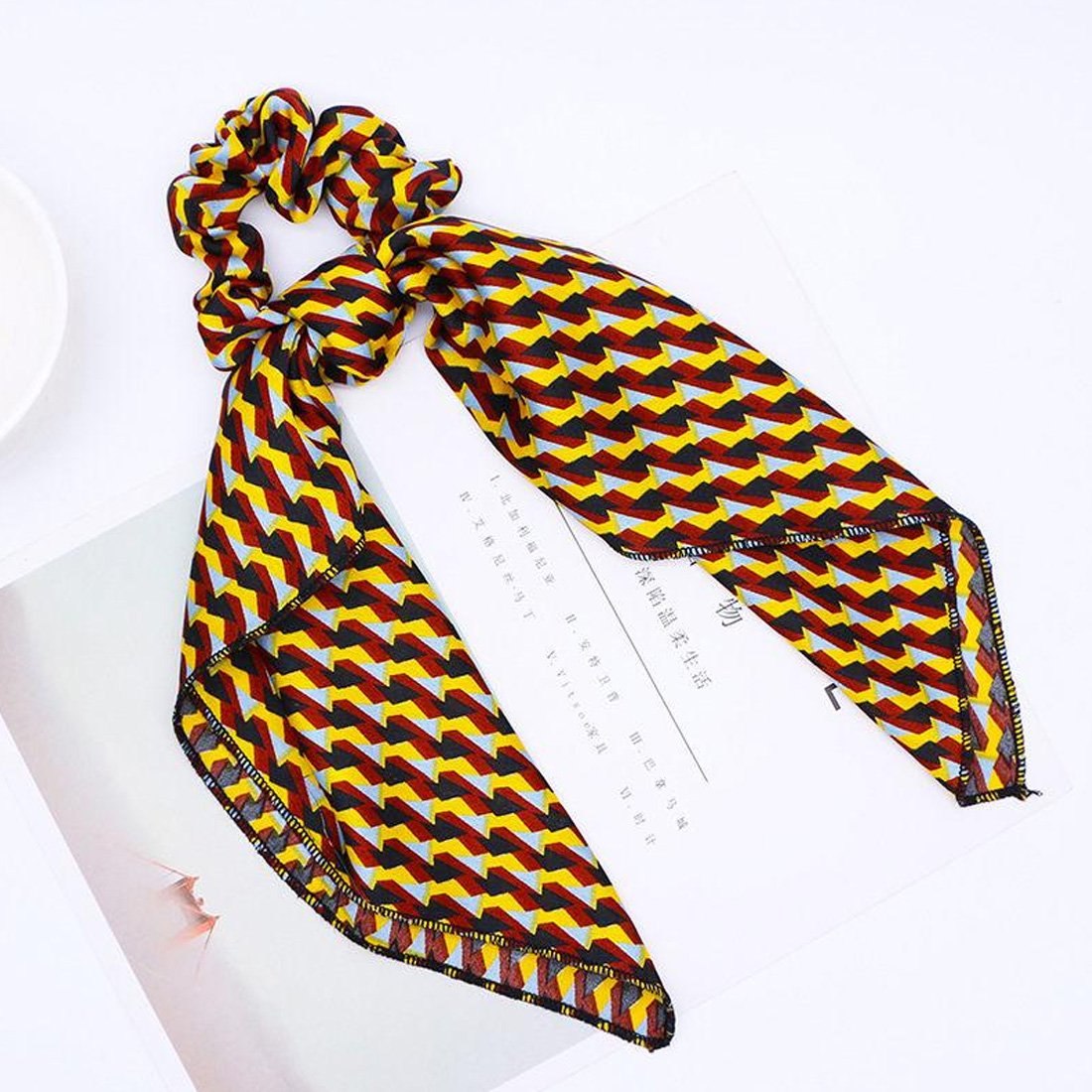 Spring Women Scarf Ponytail Hair Rope Flower Plaid Print Hair Bow Scrunchies Leopard literary Headbands in Women 39 s Hair Accessories from Apparel Accessories