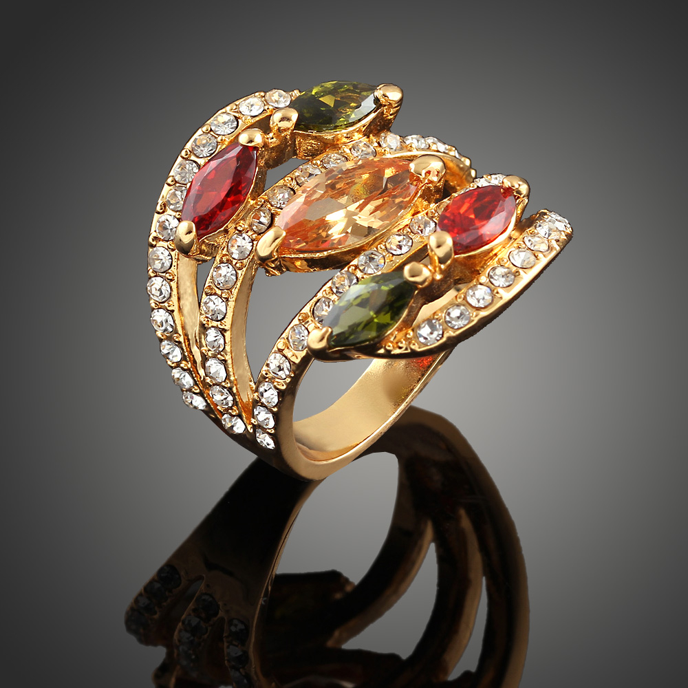 Fashion Korean Noble Rings Gold color Austrian Crystal Big Top Quality Cubic Zircon Women Engagement Rings