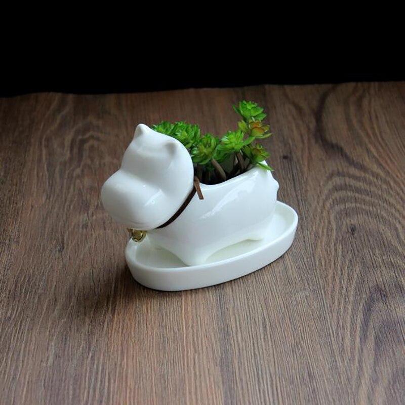 1pc Cartoon Hippo Ceramic Succulent Plant Pot with Tray Decorative Bonsai Planter Porcelain Flower Pot Home Garden Decor