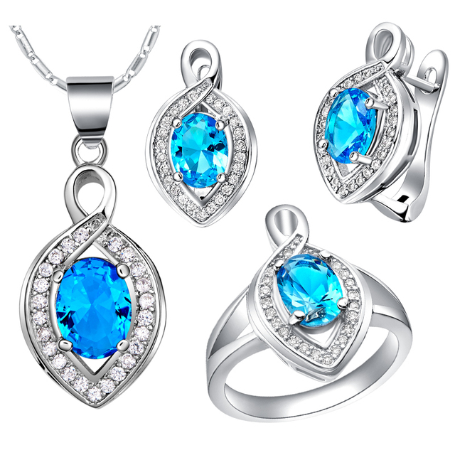 Cute Fashion Silver Jewelry Set For Women S Ring Earrings Necklace With Bright Blue Red Pink