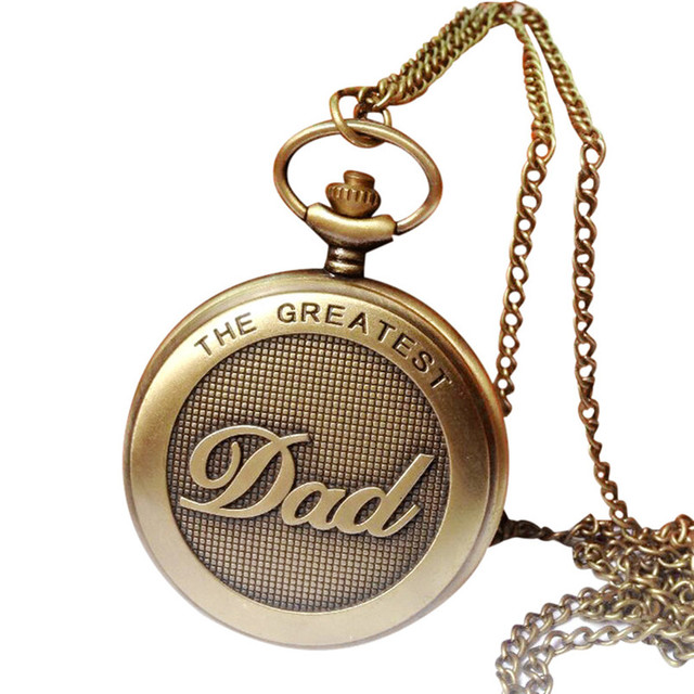 OTOKY Pocket Watch Men Vintage Bronze The Greatest Dad Design Chain Pendant Pock