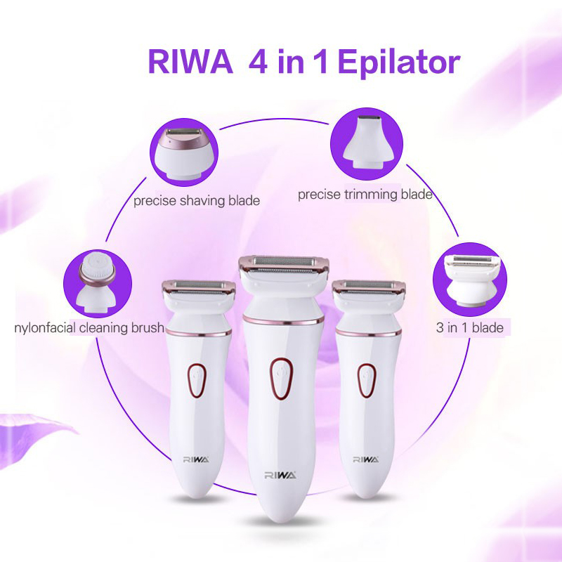 Riwa Women's Electric Epilator RF-1202 4 In 1 Rechargeable Hai Removing Shaver For Bikini/Face/Body/Underarm Hair Clipper
