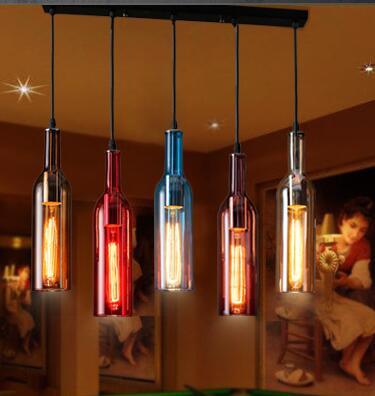 Gorgeous Vintage Wine Bottle colorful Pendant Lights Cafe-Room/Bar Decoration 5 heads  Pendant Creative Cut Glass Lamps A032-5 smad 28 bottle wine chiller cellar bar