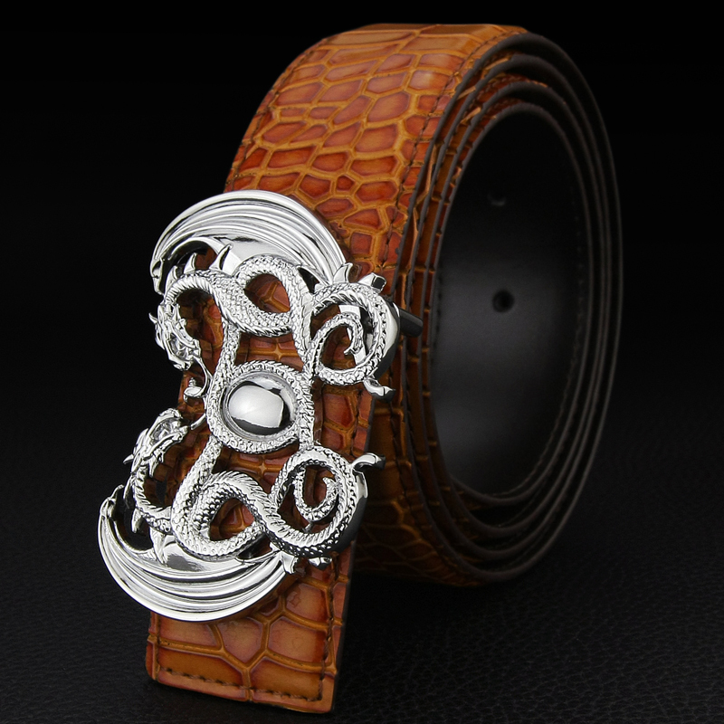 Double Dragon buckle designer belts men high quality Fashion genuine leather belt Black Brown gold metal buckle Cinto Masculino in Men 39 s Belts from Apparel Accessories