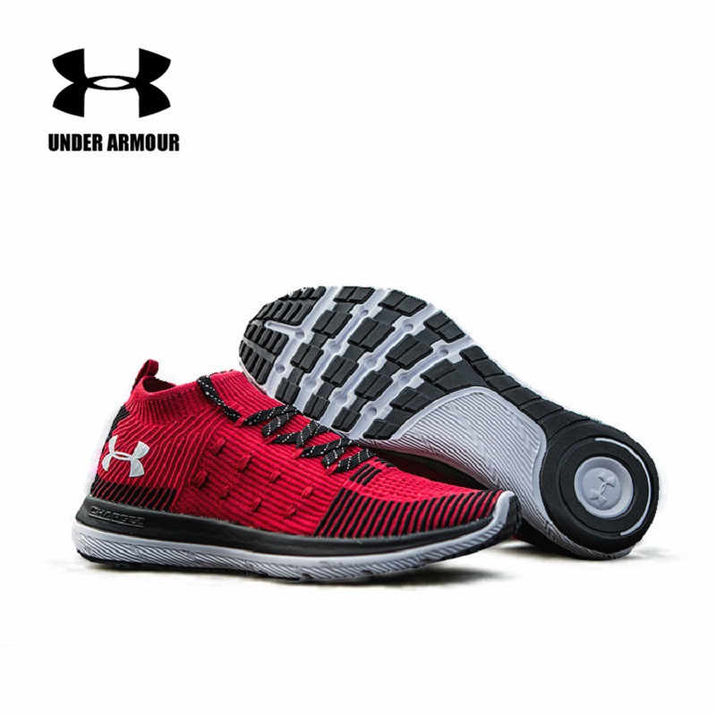 6d1b2238b54191 Under Armour Men Lightweight Running Shoes UA Man Slingflex Rise Red  Sneakers Outdoor Unique Sock Breathable