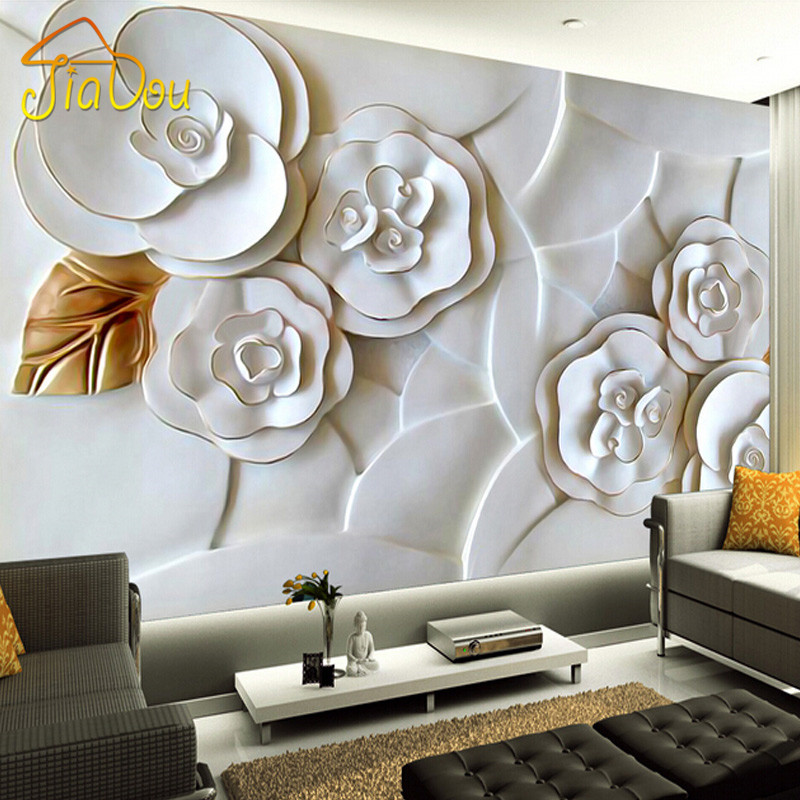 Custom 3d photo wallpaper white rose flower 3d for 3d photo wallpaper for living room